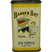 """Vintage """"Banner Boy"""" Tin Spice Container"""