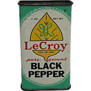 "Vintage ""LeCroy"" Tin Spice Container"