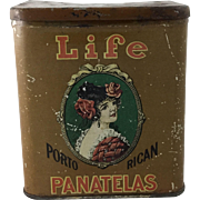 "Vintage ""Life Porto Rican Panatelas"" Tobacco Tin"