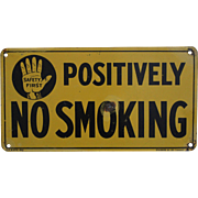 """Vintage Standard Oil Co. (Indiana) """"Positively No Smoking"""" Tin Litho Sign"""