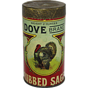 """Vintage """"Dove Brand"""" Rubbed Sage Tin Spice Container"""
