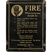 """1914 Standard Oil """"Safety First"""" Embossed Lithograph Tin Sign"""