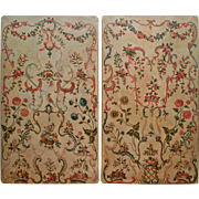 """Antique Pair of 8'7"""" French Painted Wall Panels"""