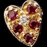 SALE Estate 14k R. Klein Ruby & Diamond Heart Bracelet Slide!
