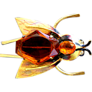 REDUCED Huge Early CORO Sterling Enamel Insect Pin- Book Piece- Citrine Glass!