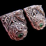 SALE Pair Art Deco Sterling Marcasite Clips –Roses 1920s German Art Deco Green Stones