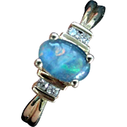 SALE Vintage 10K Diamond & Blue Opal Ring, Size 9