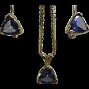14K  Trillion Cut Tanzanite Necklace & Earring Set