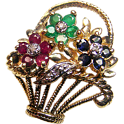 SOLD 14K Yellow Gold Multi Gemstone Flower Basket Pin