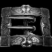 Sterling Silver Ornate Art Nouveau Design Belt Buckle by Unger