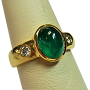 SOLD 14K Gold Cabochon Emerald and Diamond Ring