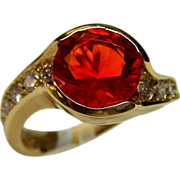 14K Yellow Gold Mexican Fire Opal and Diamond Ring