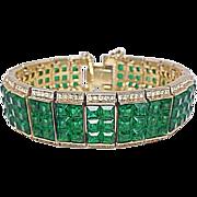 REDUCED Rarest Trifari Alfred Philippe Waffle Glass Invisible Set Emerald Green Pave Rhineston