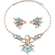 Trifari 1940's Pat Pend Aqua Blue Topaz Baguette Pave Rhinestone Gold Tone Ribbon Necklace ...