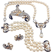 REDUCED RARE 1949 Trifari Empress Eugenie Patented Grand Parure Pearl Blue Enamel Rhinestone .