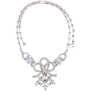 Mint Trifari Pat Pend 1940's Unfoiled Emerald Cut Pave Rhinestone Ribbon Necklace Old Hollywoo