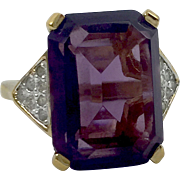 Panetta Unfoiled Deep Amethyst Emerald Cut Gold Tone Sterling Vermeil Ring