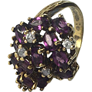 Panetta Amethyst Purple Oval Pave Rhinestone Gold Tone Abstract Cluster Ring Sterling