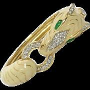 Ciner Zebra Gold Tone Cream Enamel Pave Rhinestone Jade Green Cabochon Clamper Cuff Bracelet