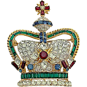 Rare Coro Crown Coronation Gems Emerald Sapphire Ruby Rhinestone Silver And Gold Tone Brooch