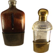 Antique Flasks  Leather Covered and Glass