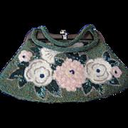 Fabulous Beaded Vintage Handbag with Flowers