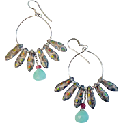 By Estrella: Czech Art Glass and Peruvian Opal Earrings