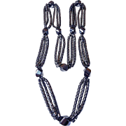 Long 3-strand Art Deco hematite necklace