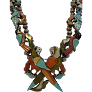 Museum Quality Vintage ZUNI Inlay SQUASH BLOSSOM Necklace, Parrot, Hummingbird, Peacock, ...