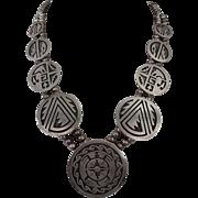 Signed Vintage HOPI Sterling Silver Overlay SQUASH BLOSSOM Necklace TURTLE SUN
