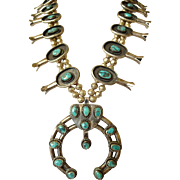 VIntage NAVAJO 1940s Sterling Silver & TURQUOISE Squash Blossom NECKLACE, 217g