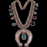 Signed NAKAI Vintage NAVAJO Sterling Silver Multi-Stone SQUASH BLOSSOM Necklace