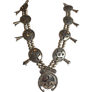 Vintage NAVAJO Sterling Silver SQUASH BLOSSOM Necklace, Turtle Fetish Design
