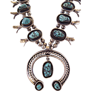 Heavy Gauge Vintage NAVAJO Sterling Silver & Turquoise SQUASH BLOSSOM Necklace