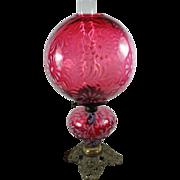 SALE Cranberry Opalescent Daisy & Fern Kerosene Gone with the Wind  Lamp Cherub Cast Foot