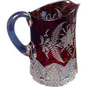 SALE EAPG Ruby Flashed Fancy Cut Button Arch Water Pitcher