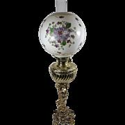 SALE Victorian Figural Brass Cherub Lamp w/Hand-painted Shade w/ Violets