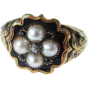 Georgian Mourning Ring Dating to 1836 in 15 Carat Yellow Gold with Hand Enamelling, Pearls ...