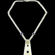Art Deco Fine Lapis Chalcedony White Gold Pyramid Pendant Necklace 14K Gold Dainty Pretty ...