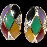 Diamond Jadeite Jade Earrings 14K Gold Onyx Earrings Multicolor Lavendar Red Imperial Green ..