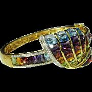 Rainbow Bracelet Cuff Bangle 18K Gold Custom Unique Lavish Retro Multistone Multigem Sea Shell