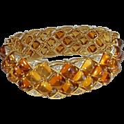 Citrine Diamond Tennis Bracelet 14K Yellow Gold Cuff Bangle Bracelet Sugarloaf Cabochon Chevro