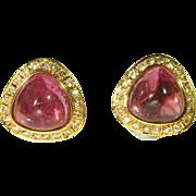 Large Genuine Tourmaline Diamond Earrings Tourmaline Cabochon Pink Rose Tourmaline Pretty ...