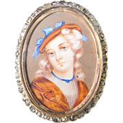 Georgian 1830s 18K Gold Rose Cut Diamond Miniature Portrait Pin Brooch