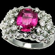 Pink Tourmaline Engagement Ring Pink Tourmaline Ring 18K Gold Ring Diamond Engagement Ring ...