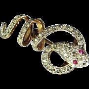 Victorian Diamond Ruby 18K Gold Pin Brooch 19th Century Rose Cut Hand Made