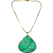 Malachite Diamond Pendant Necklace 14KGold Chain Modernist Mid Century Jewelry 1950s 1960s ...