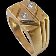 Diamond Signet Ring 14K Gold 1970s 1950s 1960s Designer Wedding Engagement Anniversary Dress .