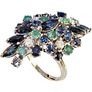 Sapphire Emerald 14K Gold Ring 1950s Mid Century Spray Design Cluster Large Huge Massive Chunk