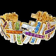 14K Diamond Cuff Bangle Bracelet Multigem Natural Gem Vivid Gem Rainbow Bracelet Citrine, ...